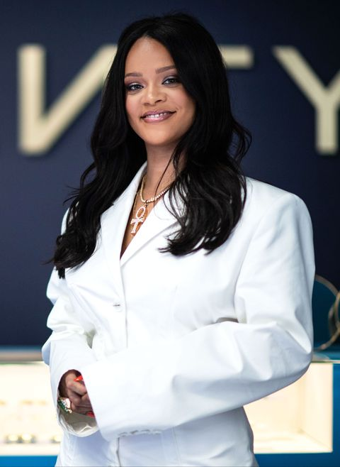 cheap for discount 9234d c1350 Rihanna Wore a White Blazer Mini Dress to Launch Her Fenty ...
