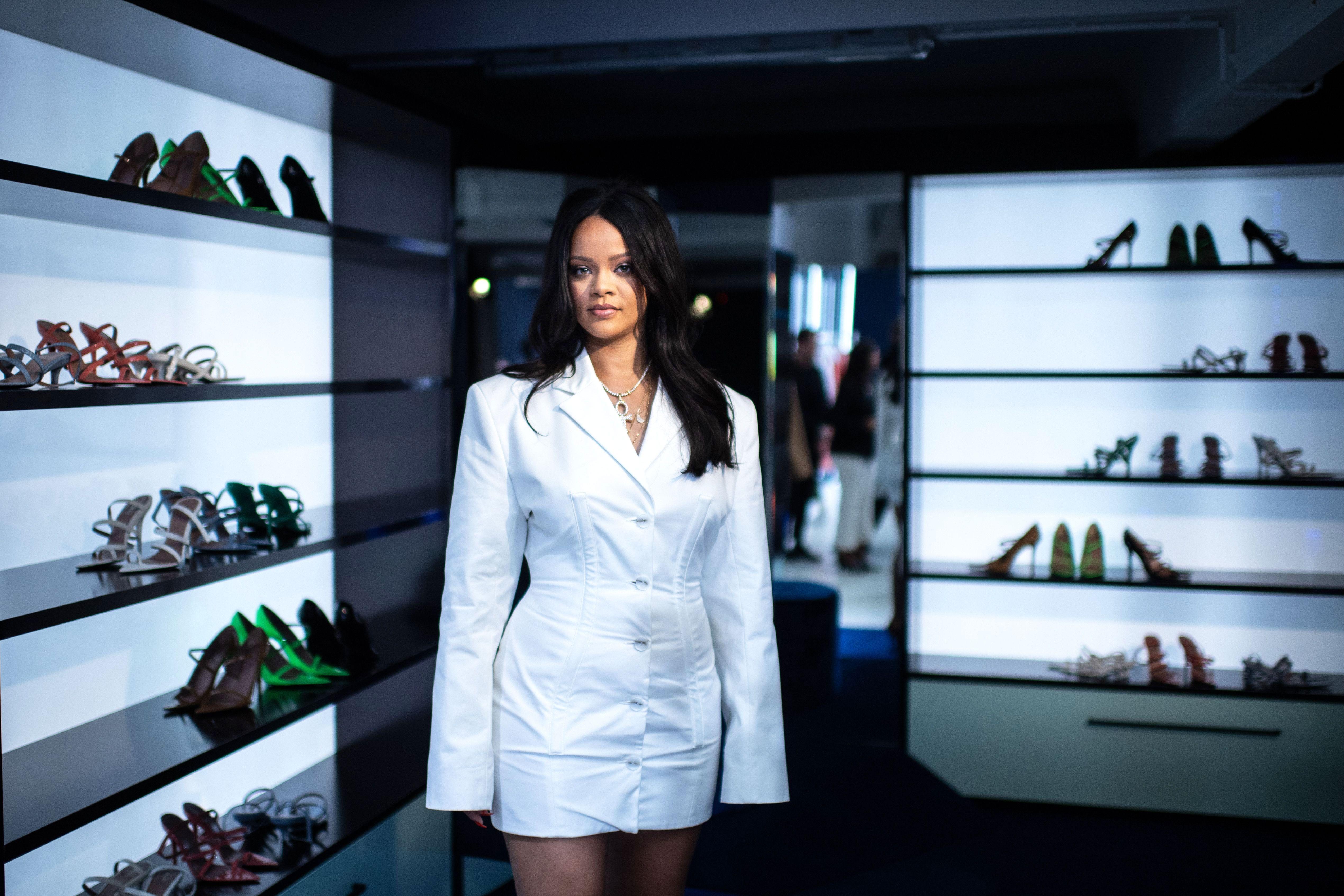 f97267374b Rihanna Wore a White Blazer Mini Dress to Launch Her Fenty Fashion Line