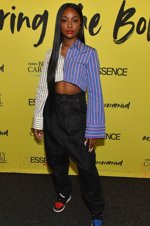 new york, new york   april 28 justine skye poses backstage during the 2019 essence beauty carnival day 2 on april 28, 2019 in new york city photo by paras griffingetty images for essence