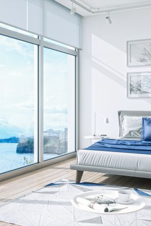 Modern Bedroom Interior With Sea View