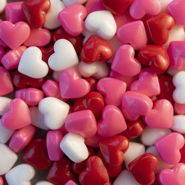 Pile of heart shaped candy