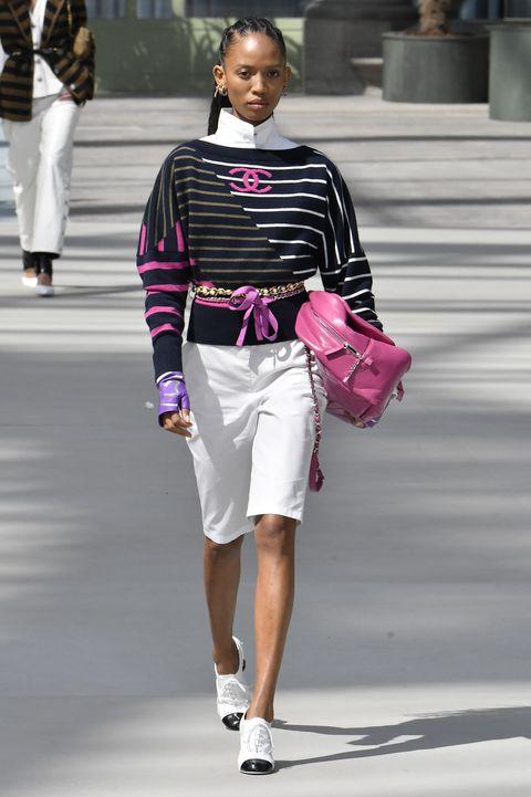 Fashion, White, Fashion model, Fashion show, Clothing, Street fashion, Pink, Runway, Shoulder, Waist,