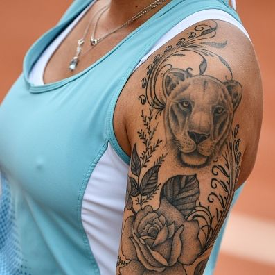 the tatoo of spains aliona bolsova zadoinov is pictured as she plays against romanias sorana cirsteaduring their womens singles second round match on day five of the roland garros 2019 french open tennis tournament in paris on may 30, 2019 photo by martin bureau  afp        photo credit should read martin bureauafp via getty images