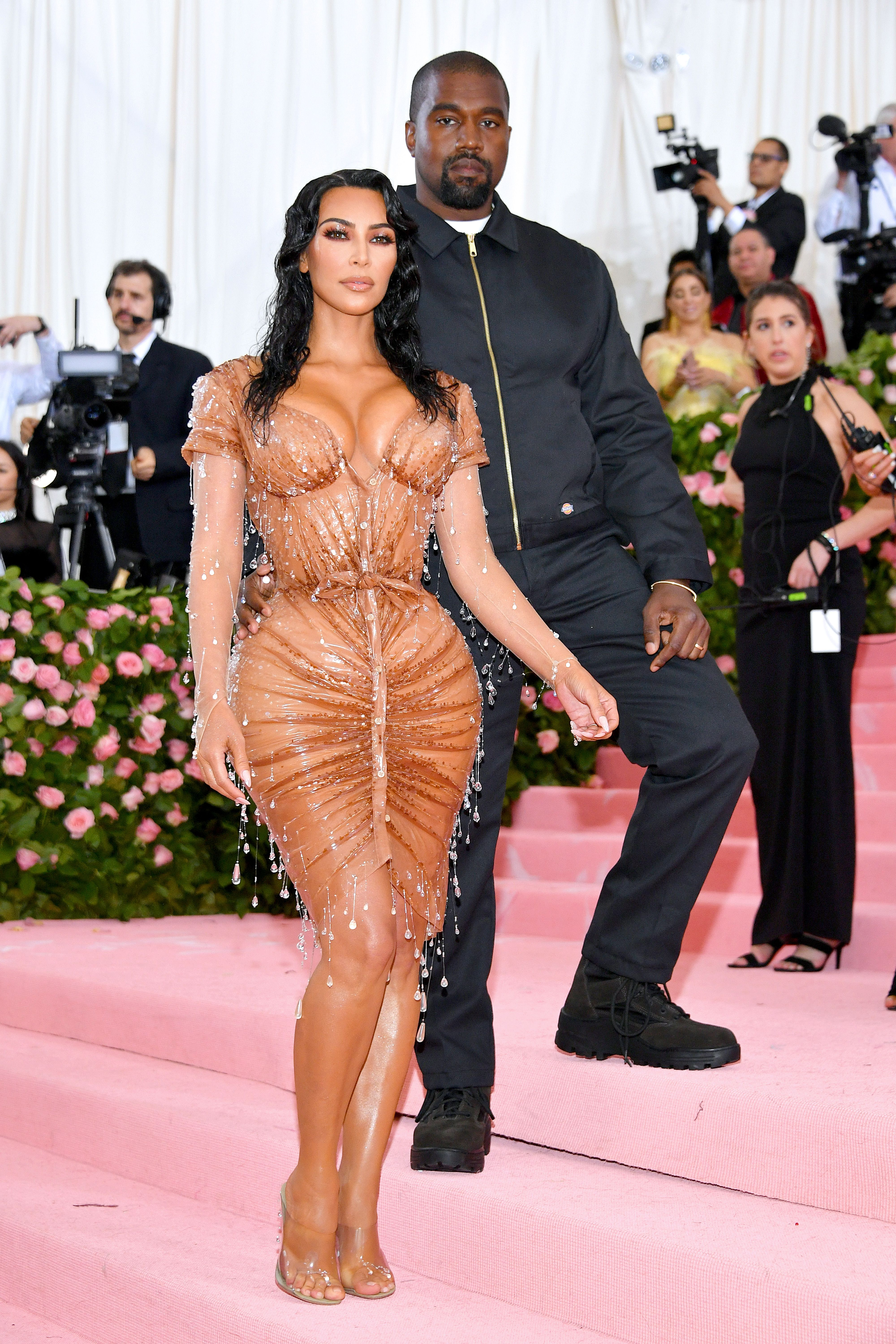 cb505f5a3 Kim Kardashian Wore a Very Uncomfortable-Looking Nude Latex Dress With Kanye  West at the 2019 Met Gala