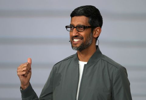 mountain view, california   may 07 google ceo sundar pichai delivers the keynote address at the 2019 google io conference at shoreline amphitheatre on may 07, 2019 in mountain view, california the annual google io conference runs through may 8 photo by justin sullivangetty images