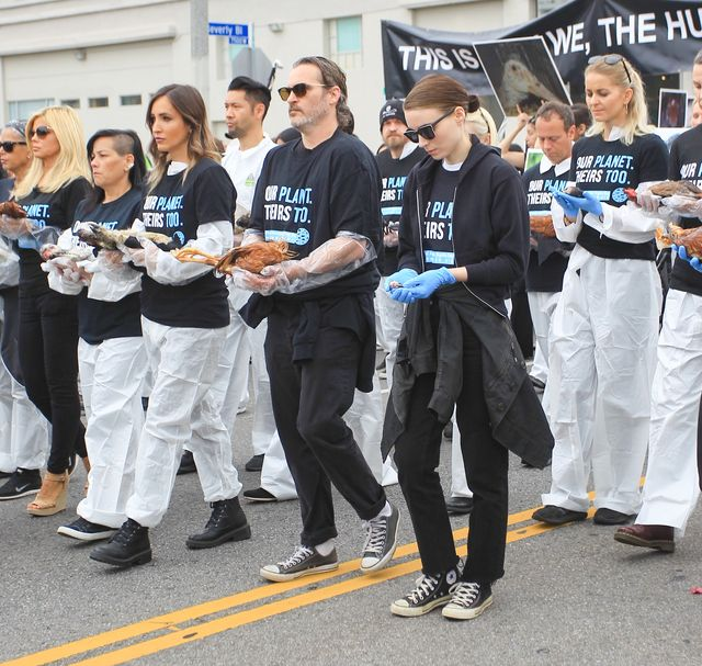 los angeles, ca   june 02 joaquin phoenix and rooney mara lead a procession for national animal rights day on june 2, 2019 in los angeles, california  photo by bg69bauer griffingc images