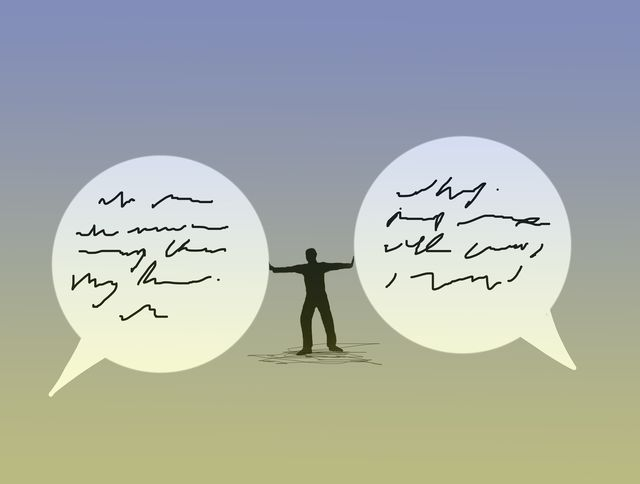 conceptual illustration of a man keeping two speech bubbles apart depicting arbitration, referee