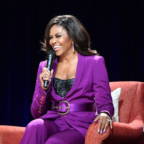 369045ef Michelle Obama's Sequin Bustier And Purple Suit Combination Has Us ...