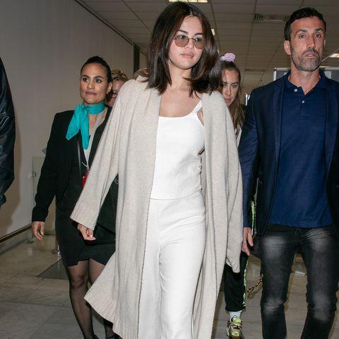 Selena gomez beige outfit