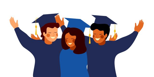 happy graduates wearing gown and cap embrace each other education, graduation and people concept