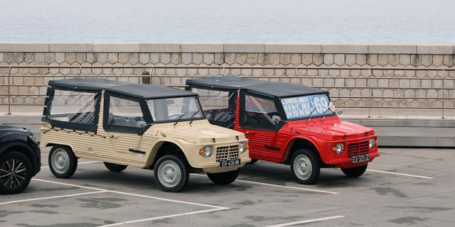 nice, france   may 21, 2019 two citroen mehari side view, french retro cars parked in a parking lot in nice on the french riviera, red and beige colors