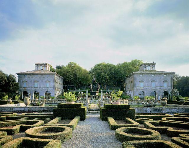 the italian garden, gambara casino and montalto casino in the background, villa lante, 1511 1566, designed by jacopo barozzi da vignola 1507 1573, bagnaia, lazio, italy photo by g nimatallah  de agostini via getty images