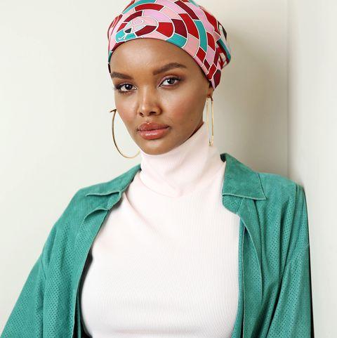 Clothing, Face, Turban, Red, Head, Turquoise, Headgear, Lip, Hair accessory, Fashion accessory,