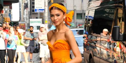 Photograph, Street fashion, Orange, Fashion, Yellow, Snapshot, Beauty, Street, Leg, Footwear,