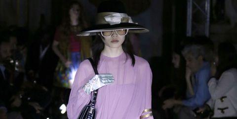 Fashion, Pink, Purple, Haute couture, Dress, Fashion design, Event, Headgear, Hat, Costume,