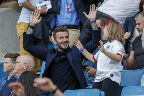 le havre, france   june 27 david beckham and his daughter harper beckham enjoy the atmosphere during the 2019 fifa womens world cup france quarter final match between norway and england at stade oceane on june 27, 2019 in le havre, france photo by catherine steenkestegetty images