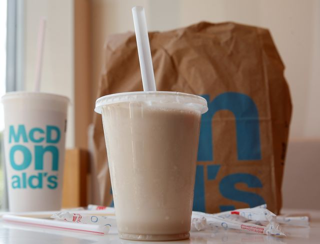 28 june 2019, berlin a plastic cup with a shake, a soft drink cup and a paper bag on a table, taken at a mcdonalds store the fast food chain mcdonalds wants to produce less plastic waste for example, desserts are to be sold in the course of the coming year in more sustainable packaging almost without plastic already this year plastic holders for balloons would be abolished, mcdonalds announced from 2021 they will no longer be allowed to be sold in the eu   as will disposable cutlery and plates and plastic straws photo gerald matzkadpa zentralbildzb photo by gerald matzkapicture alliance via getty images