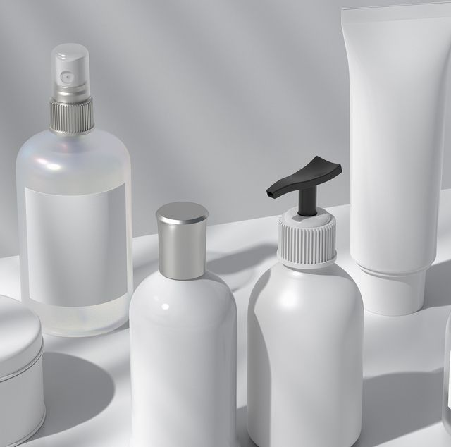 cosmetic bottles set with liquid, spray tube cream, gel, lotion set of beauty product packages 3d illustration