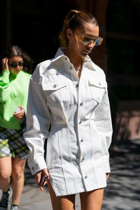 White, Clothing, Fashion, Street fashion, Eyewear, Fashion model, Sunglasses, Shorts, Human, Fashion design,