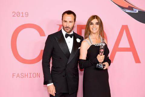 cfda fashion awards , winners walk , carine roitfeld, tom ford, cfda, 2019, founder's award,