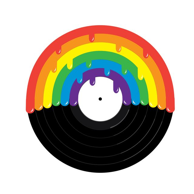 vector illustration of a gay pride or lgbt pride concept rainbow and vinyl record with drips eps 10