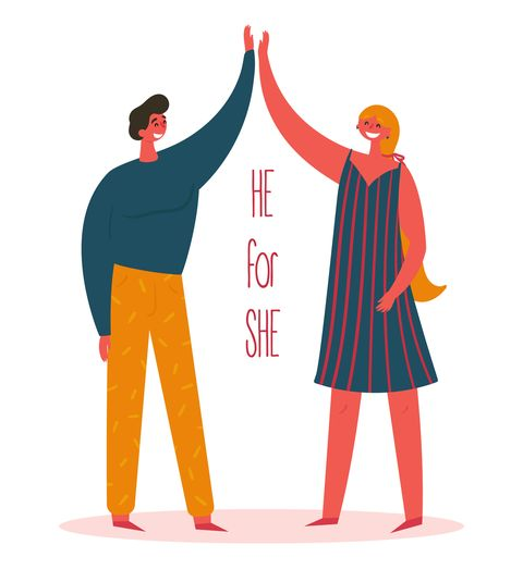 heforshe he for she campaign woman and man two friends give five for each other concept of global solidarity movement for gender equality united nations movement commit to join vector flat