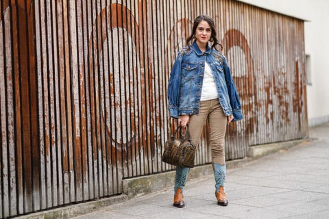 Denim, Clothing, Street fashion, Jeans, Photograph, Blue, Fashion, Footwear, Brown, Outerwear,