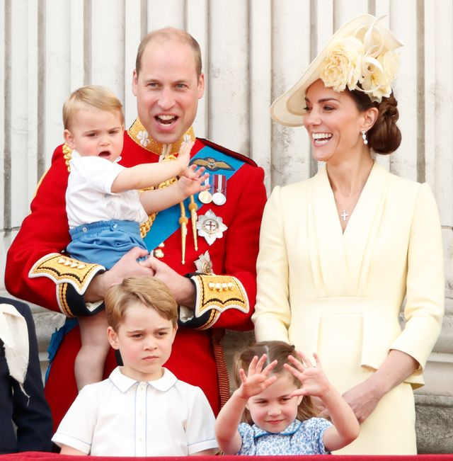 london, united kingdom   june 08 embargoed for publication in uk newspapers until 24 hours after create date and time prince william, duke of cambridge, catherine, duchess of cambridge, prince louis of cambridge, prince george of cambridge and princess charlotte of cambridge watch a flypast from the balcony of buckingham palace during trooping the colour, the queens annual birthday parade, on june 8, 2019 in london, england the annual ceremony involving over 1400 guardsmen and cavalry, is believed to have first been performed during the reign of king charles ii the parade marks the official birthday of the sovereign, although the queens actual birthday is on april 21st photo by max mumbyindigogetty images