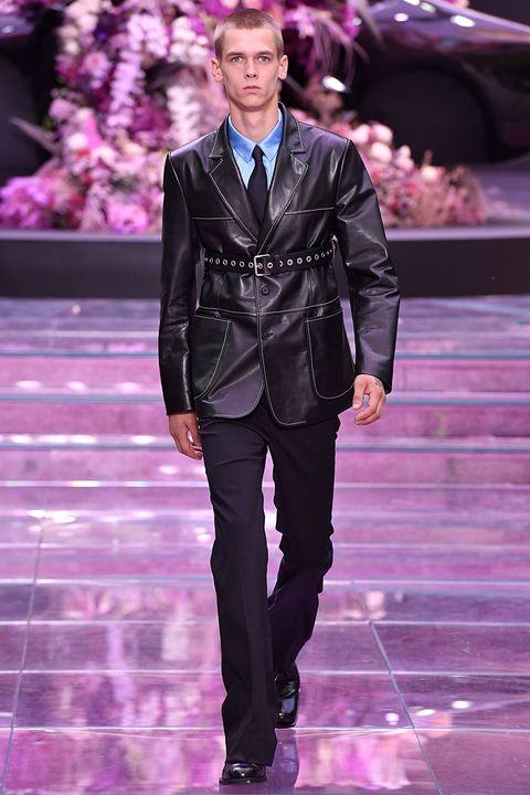 Fashion, Fashion show, Runway, Fashion model, Haute couture, Suit, Purple, Event, Public event, Human,