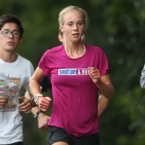 Tierney Wolfgram a cross-country running at Math & Science Academy worked out with teammates September 5,2017 in Woodbury, MN. ]  JERRY HOLT • jerry.holt@startribune.com