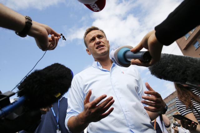 russian opposition leader alexei navalny speaks with journalists during a rally to support opposition and independent candidates after authorities refused to register them for september elections to the moscow city duma, moscow, july 20, 2019 photo by maxim zmeyev  afp photo by maxim zmeyevafp via getty images