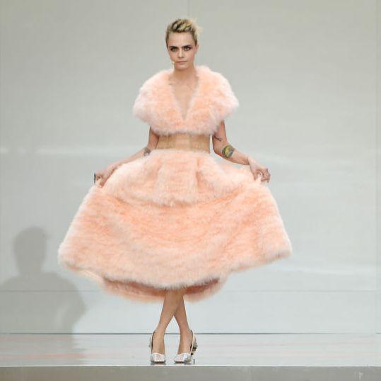 Fashion, Clothing, Dress, Fashion show, Shoulder, Fashion model, Pink, Fashion design, Haute couture, Runway,