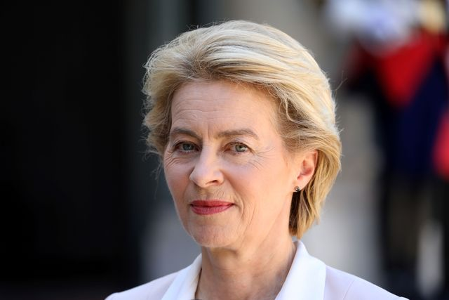 newly designated president of the european commission ursula von der leyen addresses the media in the courtyard of the elysee presidential palace during her visit to french president in paris on july 23, 2019   german defence minister ursula von der leyen will become european commission president in november 2019 photo by ludovic marin  afp photo by ludovic marinafp via getty images