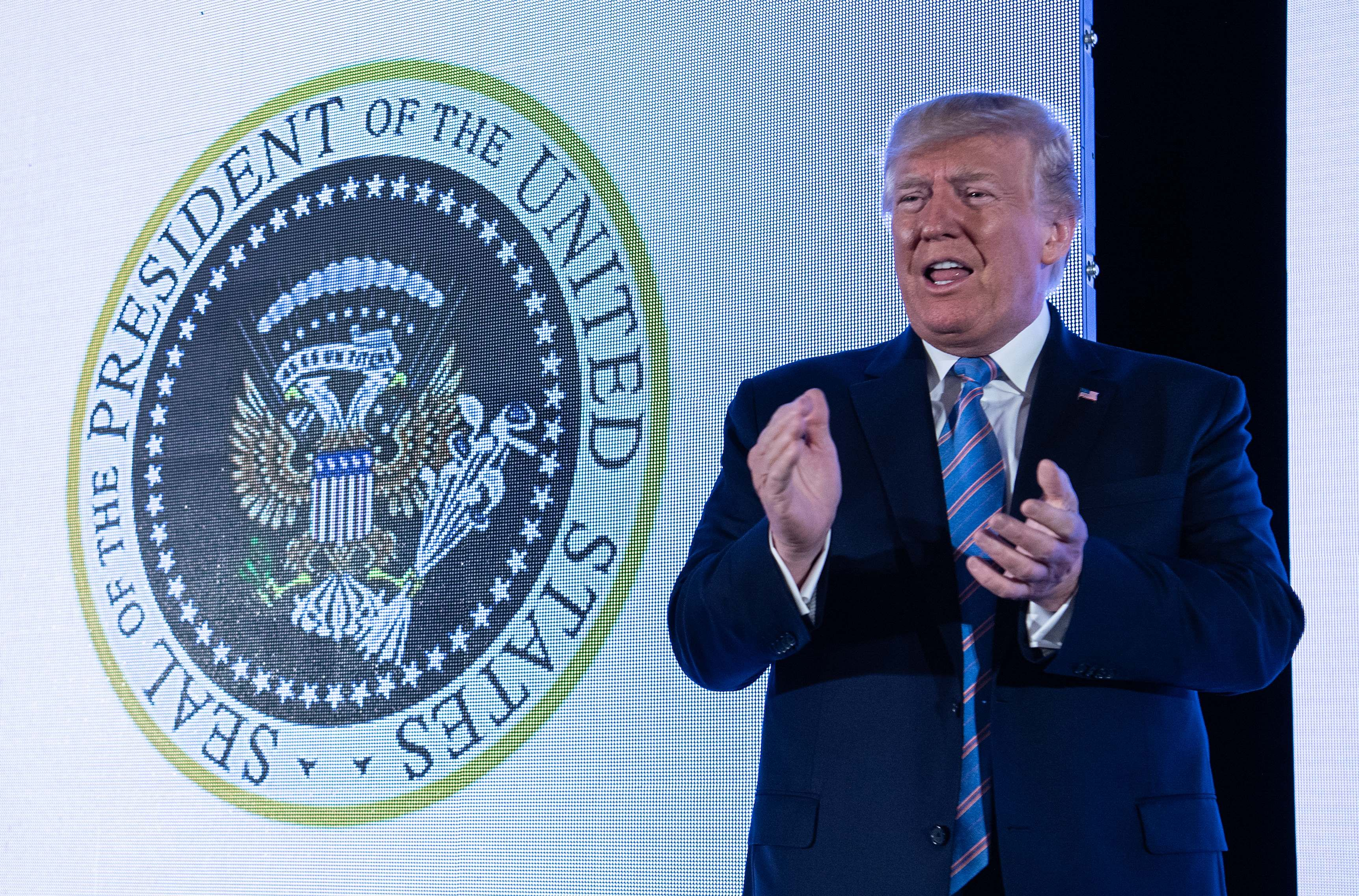 Donald Trump Gave A Speech In Front Of A Fake, Russia-Inspired Presidential Seal
