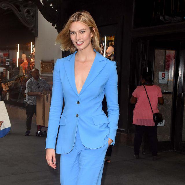 3a98e632ff7 karlie kloss carolina herrera blue suit
