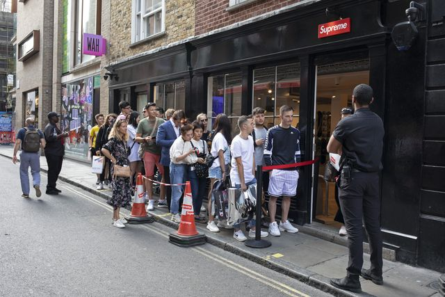 every thursday the fashion label supreme, which is a skateboarding shop  clothing brand releases new lines and so fans of the brand queue outside this shop in soho to be first in line for some original fashions in london, england, united kingdom photo by mike kempin pictures via getty images