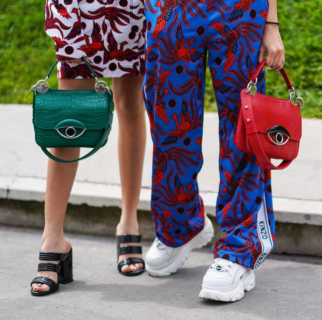 Street fashion, Clothing, Red, Blue, Fashion, Footwear, Joint, Waist, Electric blue, Sportswear,