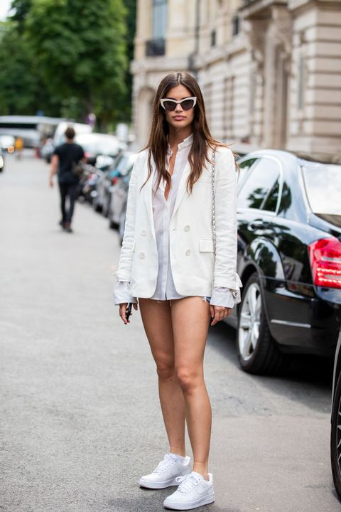 White, Clothing, Street fashion, Photograph, Black, Fashion, Footwear, Snapshot, Shoulder, Beauty,