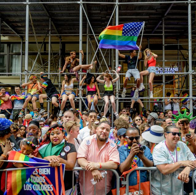 new york, new york   june 30 parade attendees during the worldpride nyc 2019 march on june 30, 2019 in new york city photo by roy rochlingetty images