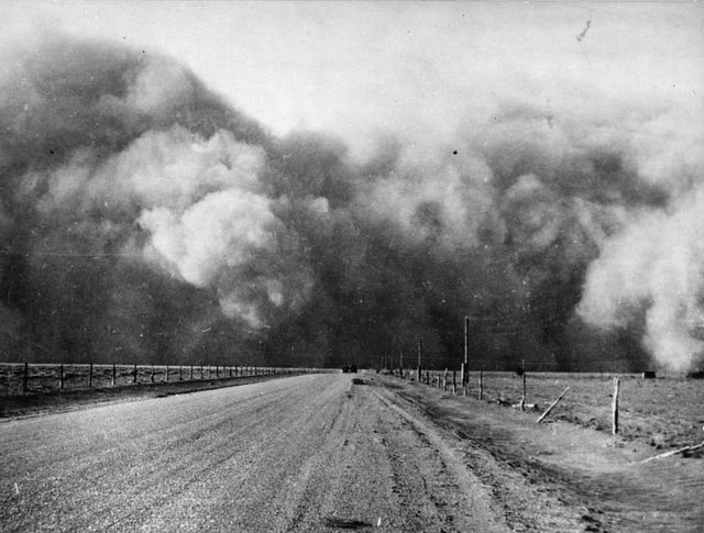 view along a dirt road in prowers county as a dust storm approaches, colorado, march 1937 reportedly, the storm, from the north, had a wind velocity of 30 miles per hour and lasted for three hours photo by united states department of agriculturephotoquestgetty images