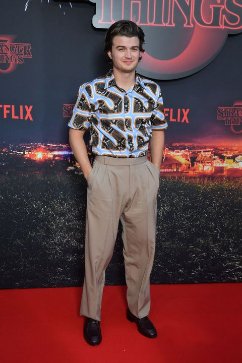 paris, france   july 04 actor joe keery attends the premiere of netflixs stranger things 3 at le grand rex on july 04, 2019 in paris, france photo by stephane cardinale   corbiscorbis via getty images