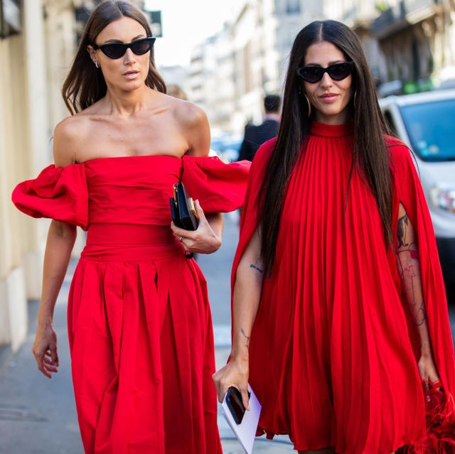 paris, france   july 03 giorgia tordini and gilda ambrosio seen  wearing red dress outside valentino during paris fashion week   haute couture fallwinter 20192020 on july 03, 2019 in paris, france photo by christian vieriggetty images