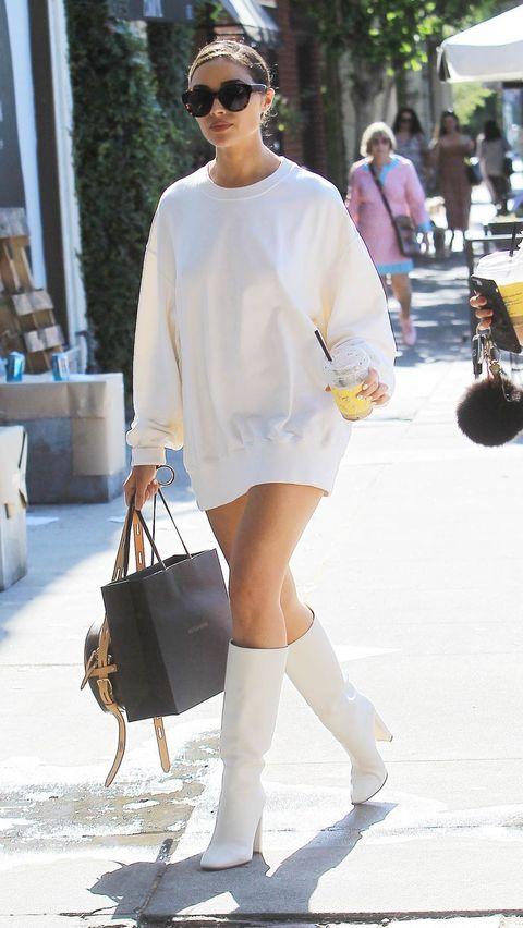 White, Street fashion, Clothing, Shoulder, Fashion, Footwear, Sunglasses, Snapshot, Leg, Eyewear,