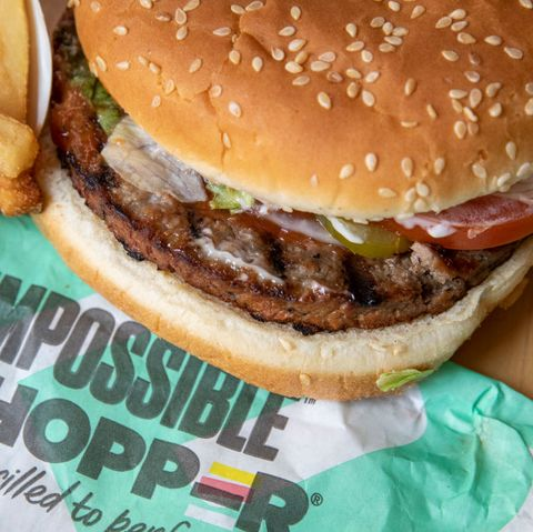 new york, ny   august 8 in this photo illustration, the new impossible whopper sits on a table on august 8, 2019 in the brooklyn borough of  new york city on thursday, burger king is launching its soy based impossible whopper at locations nationwide the meatless patties are produced by california tech startup impossible foods a single impossible whopper sandwich costs 599 photo by drew angerergetty images