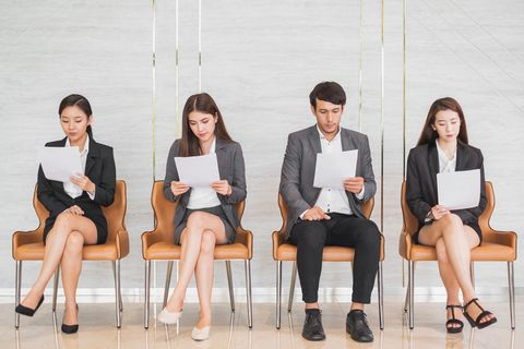 young asian business people waiting for interview in office, occupation and job applying concept