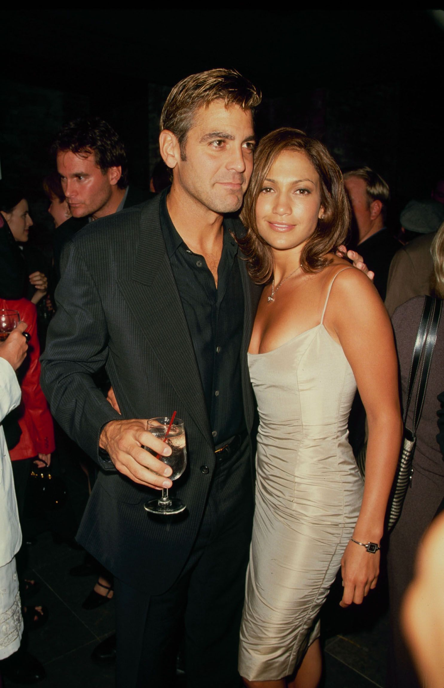 Clooney and Jennifer Lopez at premiere of their film Out Of Sight on June 24, 1998.