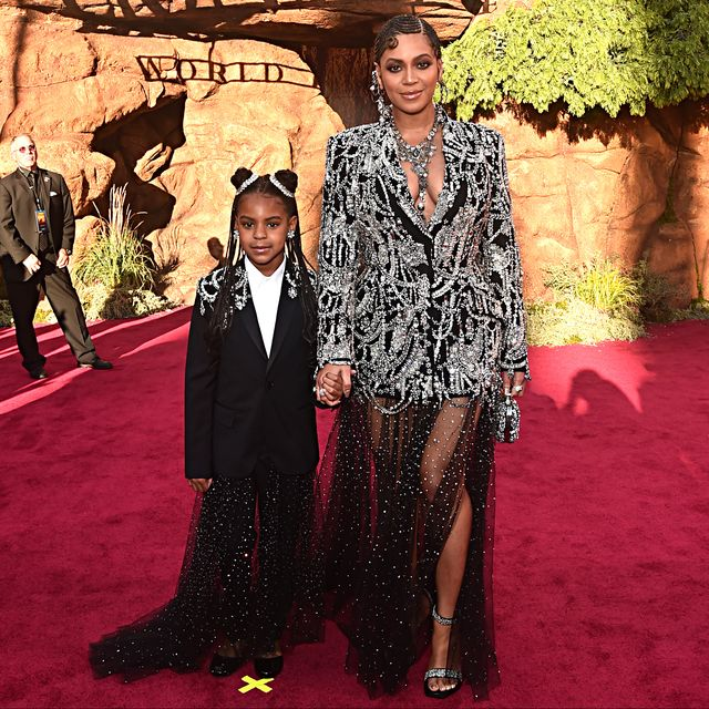 hollywood, california   july 09 editors note retransmission with alternate crop blue ivy carter l and beyonce knowles carter attend the world premiere of disneys the lion king at the dolby theatre on july 09, 2019 in hollywood, california photo by alberto e rodriguezgetty images for disney