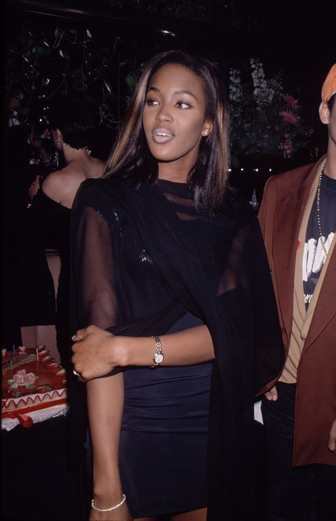 model naomi campbell at grace jones 42nd birthday party  may 21, 1990 photo by the life picture collection via getty images