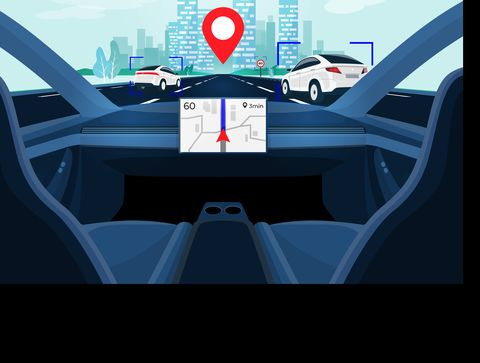 Autonomous Smart Driverless Car Self Driving. Car Interior view on Road with Traffic