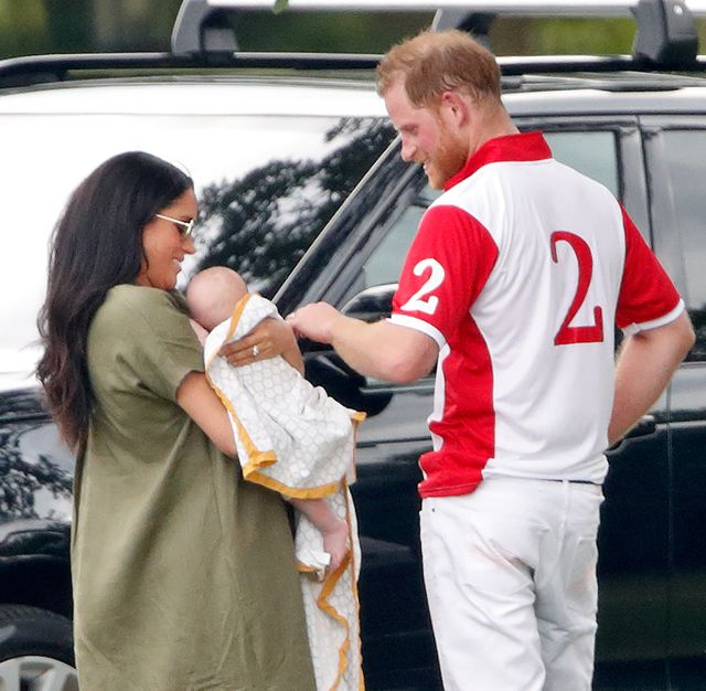wokingham, united kingdom   july 10 embargoed for publication in uk newspapers until 24 hours after create date and time meghan, duchess of sussex, archie harrison mountbatten windsor and prince harry, duke of sussex attend the king power royal charity polo match, in which prince william, duke of cambridge and prince harry, duke of sussex were competing for the khun vichai srivaddhanaprabha memorial polo trophy at billingbear polo club on july 10, 2019 in wokingham, england photo by max mumbyindigogetty images